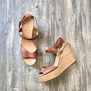 J. Crew • Brown Leather Wedges